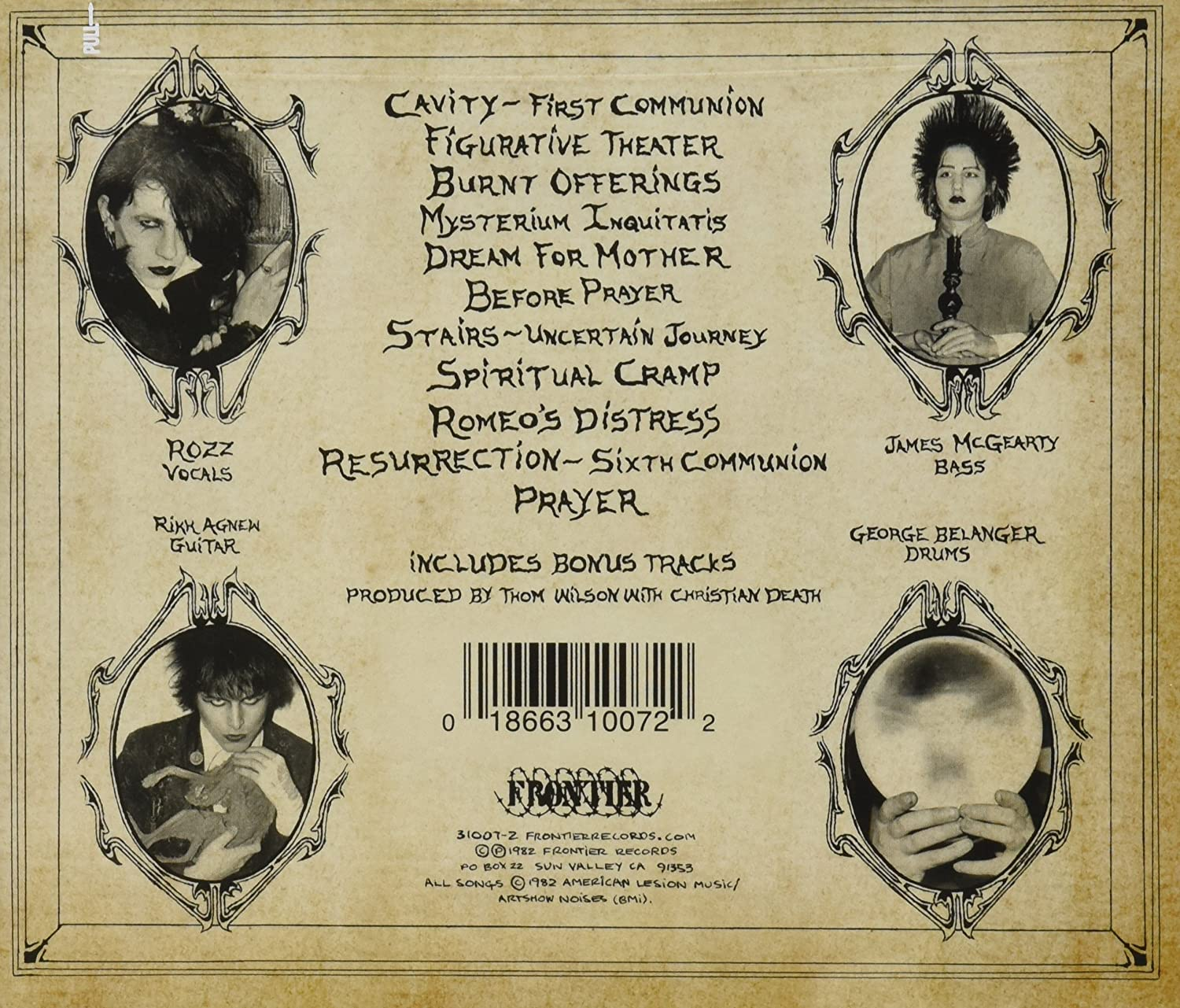 Album artwork for Christian Death's Only Theatre of Pain showing the 4 band members and the tracklisting.