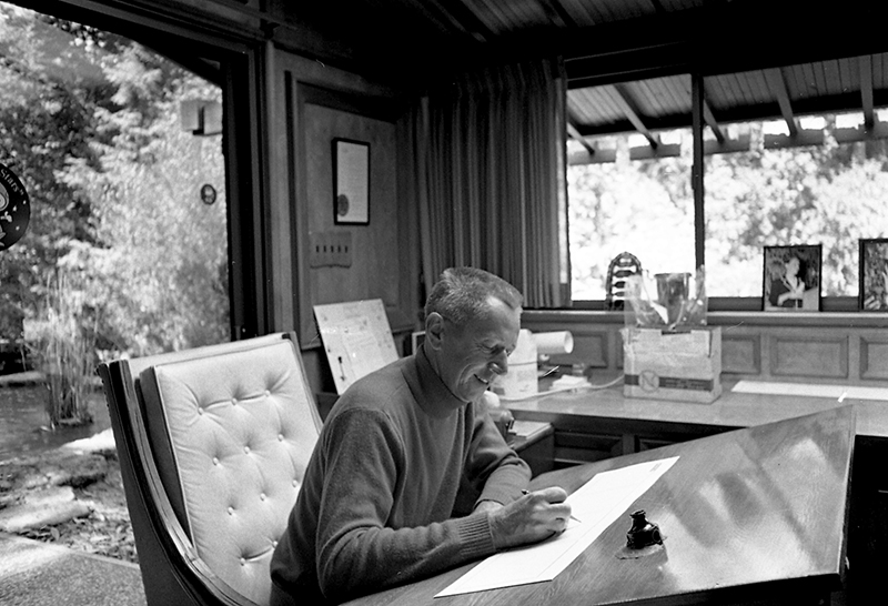 Charles M. Schulz at work in his studio in Santa Rosa, California, courtesy Charles M. Schulz Museum & Research Centre