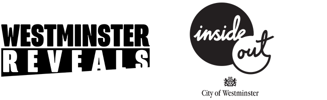 2 logos. The first reads 'Westminster Reveals' in black text, and the second reads  'Inside Out City of Westminster' in black text.