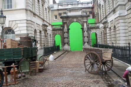 Film location tours at Somerset House green screen