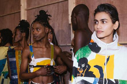 A photo of models at a Bethany Williams fashion show