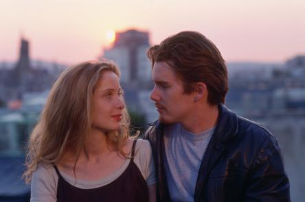 Film still of two lovers looking into each other's eyes