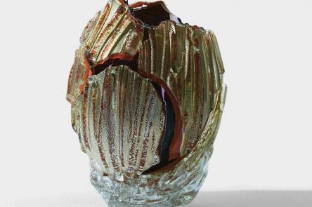 Collect, Homepage header. Glass sculpture Yobitsugi 'Benihomura', 2018, Yukito Nishinaka, Glass, Silver leaf, 28.5 x 20.5 x 20 cm, Katie Jones Japan.jpg