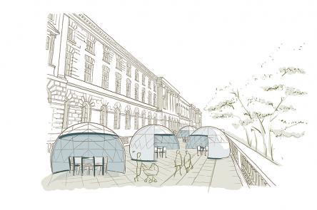 Dining Domes at Somerset House sketch