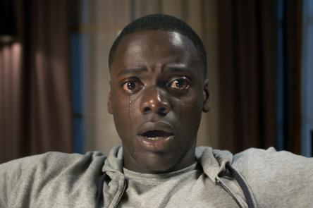 Film still of close-up of man crying
