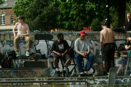 Only In Dev film still shows a skate park in Sheffield with a group of skaters hanging out
