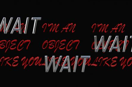 An image with a black background and words in red and silver that say 'I'm an object like you' and 'Wait'