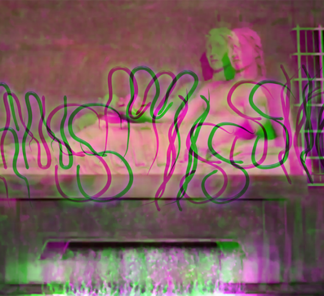 Photo of a statue of a reclining figure with a digital glitch  and the word 'Transmissions ' overlaid