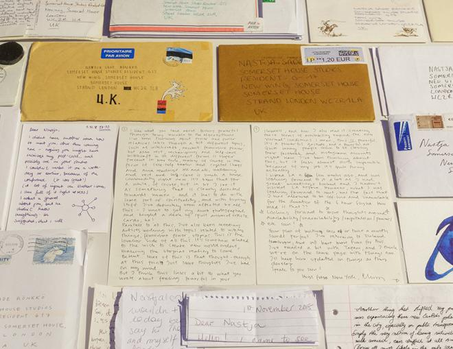 Letters as envelopes sent to artist Nastja Säde Rönkkö on display in the 24/7 exhibition at Somerset House
