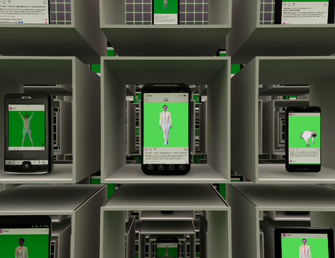 A still from a Libby Heaney work. It depicts smart phones showing different works on an instagram feed, all with a green background. Each phone is encased in a grid.