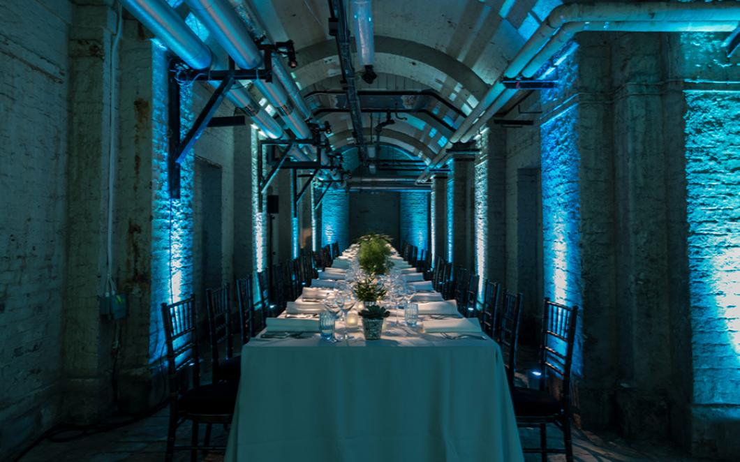 Dinner table in The Deadhouse at Somerset House