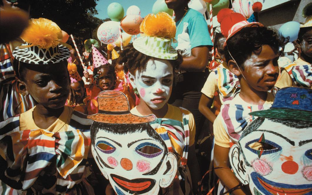 Children dressed as clowns at Trinidad Carnival in 1977