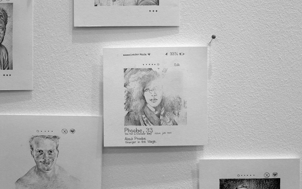 Image 4: Stranger in the Village GBG. 2015. Pencil on paper/wall installation.