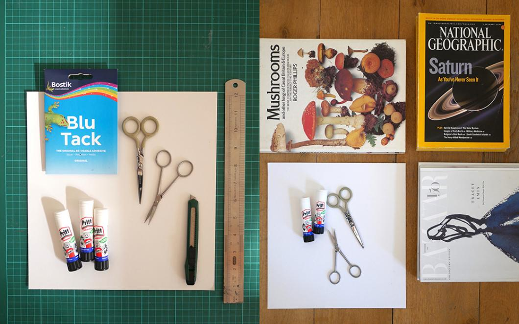 Craft materials and old magazines