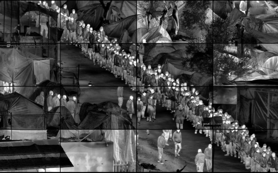 Richard Mosse's Grid (Moria), from the series Heat Maps. Photograph: © Richard Mosse, Prix Pictet 2017