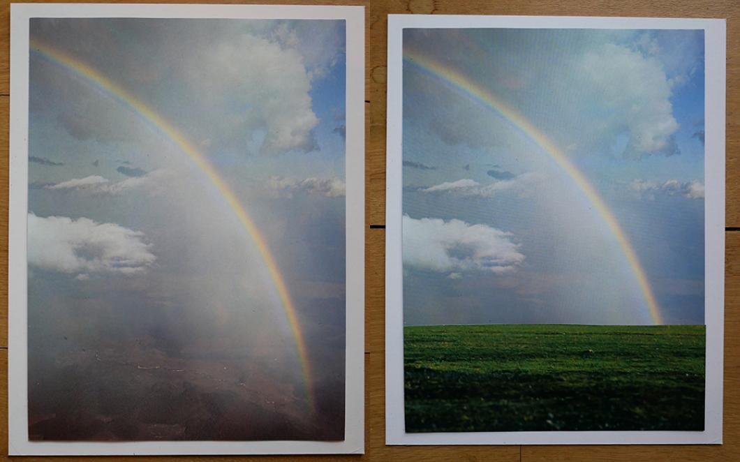 A collaged landscape with a rainbow