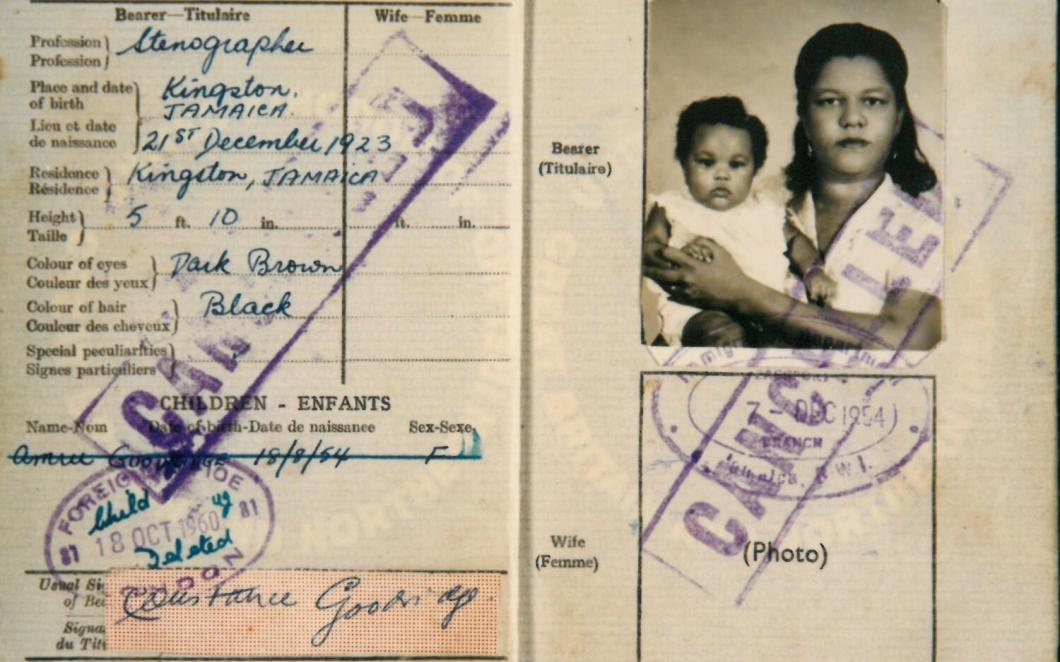 A scan of a passport of a Jamaican from the Windrush generation