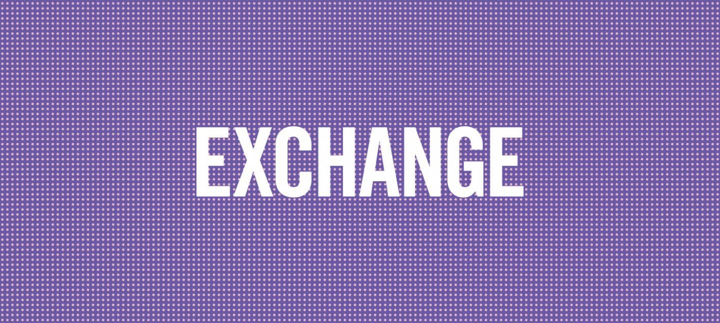 Graphic with the word exchange on it