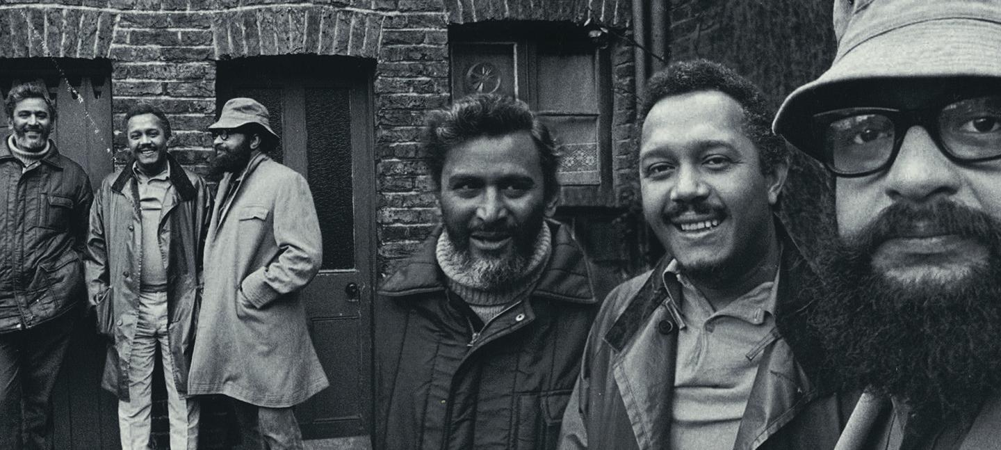 CAB founders John La Rose and Andrew Salkley with writer Sam Selvon, photographed by Horace Ové in 1972
