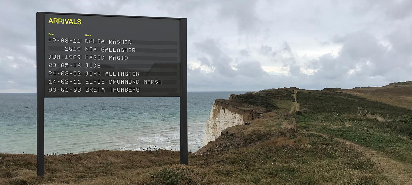 An artist's impression of the Arrivals board on a clifftop