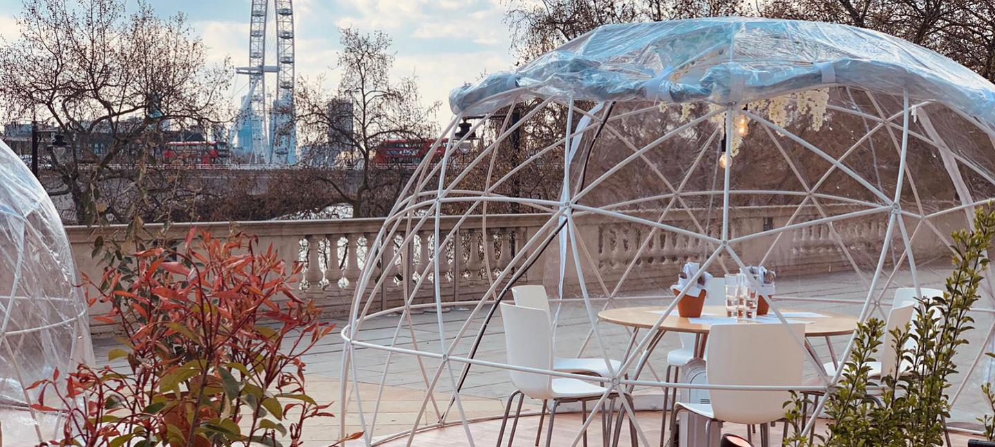 A photo of the Dining Domes on the River Terrace at Somerset House