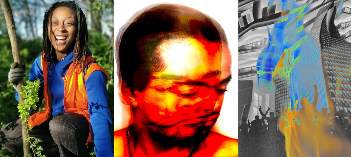 A series of 3 images. The first image is a photo of a smiling Black woman, surrounded by nature.  The middle image is a blurred photo of multiple exposures of a head in red and yellow. The third image is graphic of a crowd cheering, buildings behind.