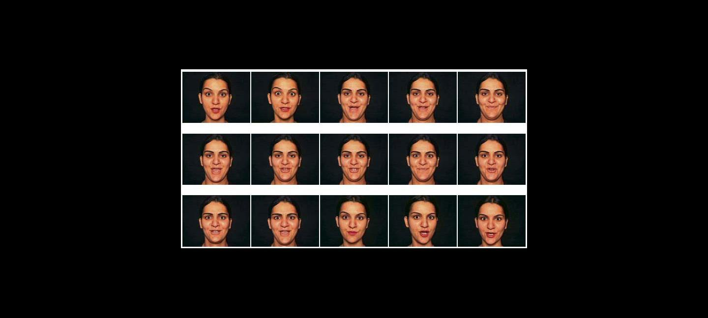A series of photos of a woman pulling different facial expressions