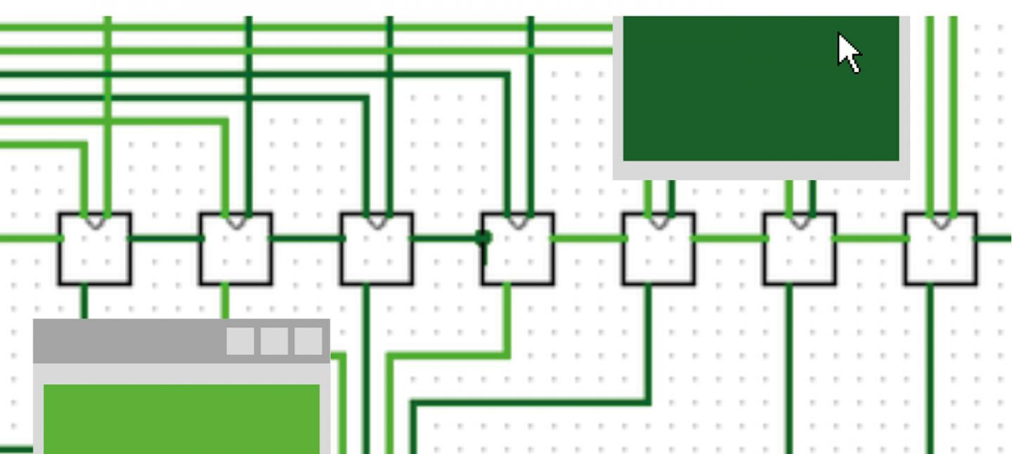 A graphic illustration of circuit board, in white and green, with computer mouse icon hovering in the top right corner.