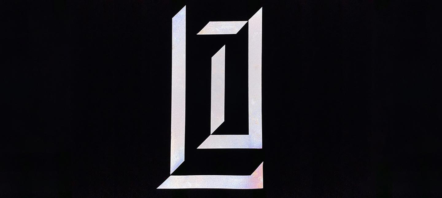 An artwork by Vivienne Griffin and Paul Purgas. A graphic L and J, standing for Latent Joy,  of disparate long white rectangles are placed on a black background.