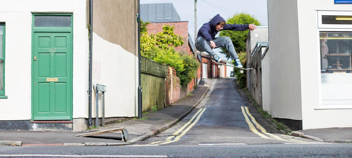 Photo by Reece Leung, Mike Arnold ollie, Bristol, 2014