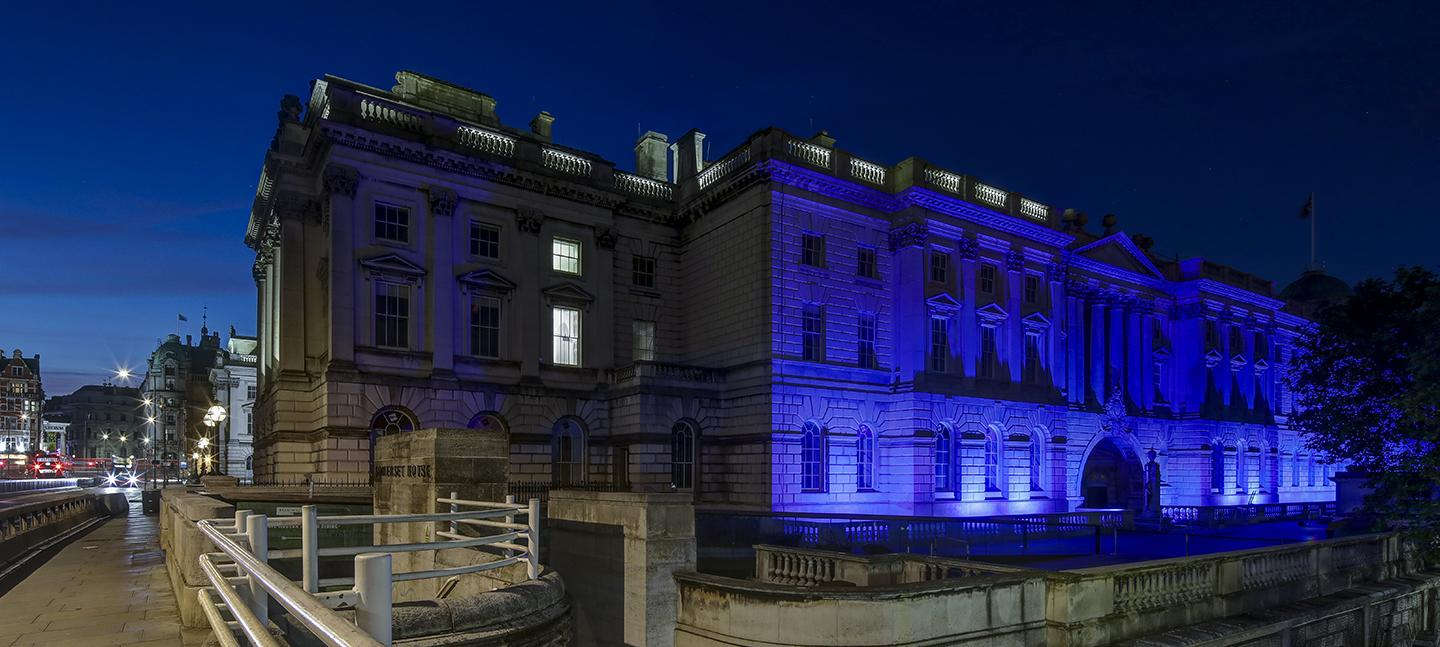 Somerset House South Wing lit up blue at night