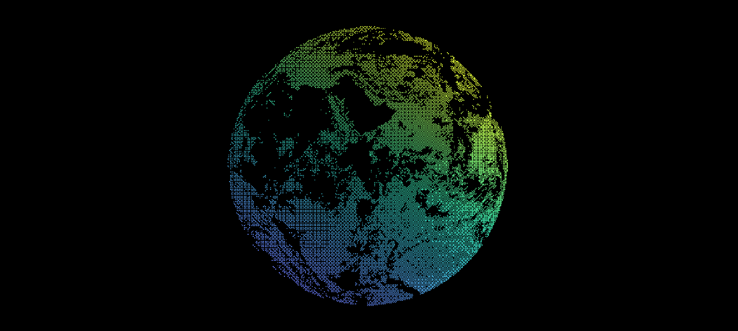 A graphic of the Earth made with pixel-like shape in a colour gradient that moves from yellow to blue across the globe, on a background of black.