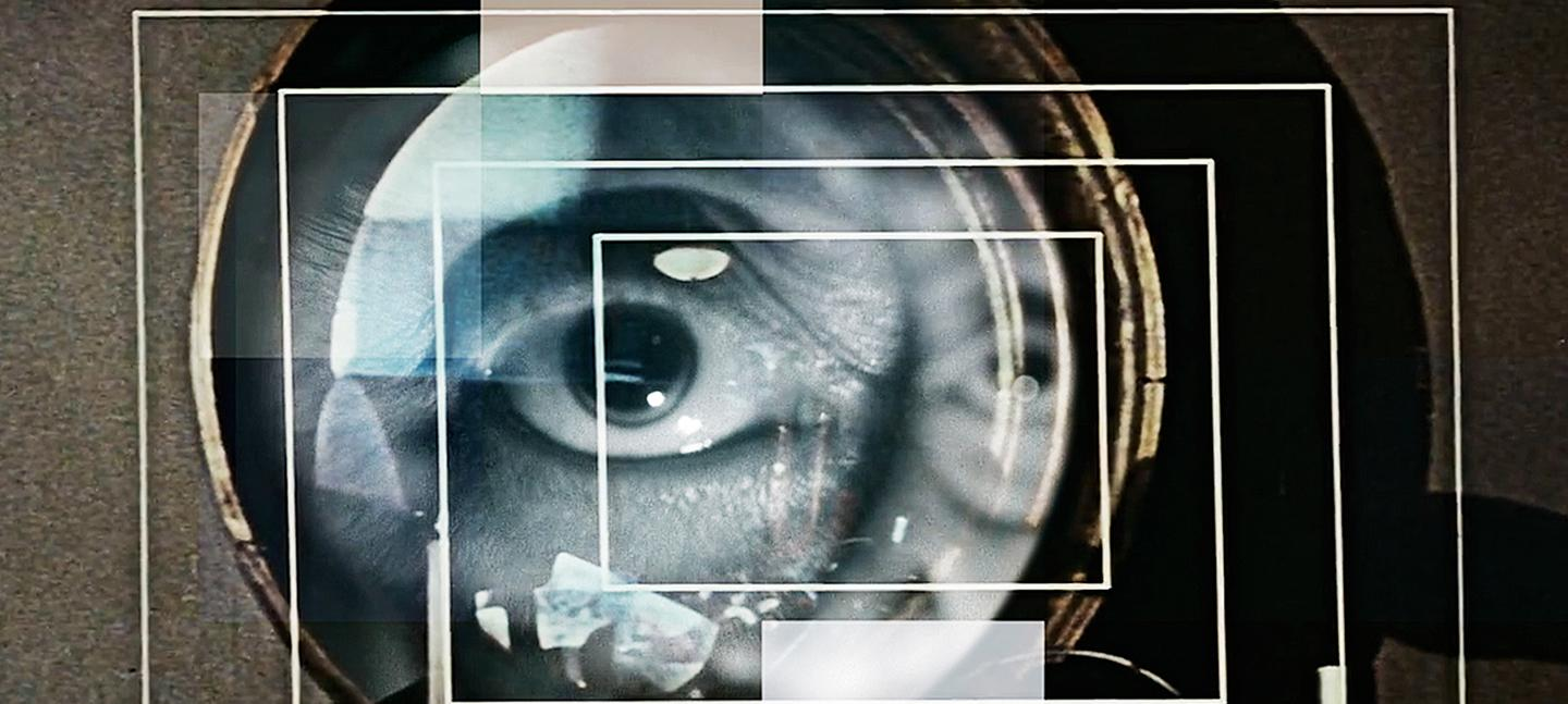 A collage of images, created by Vicki Bennett. It shows an eye overlaid with an exposure of a camera lens and rectangles of different light and concentric rectangles outlined in white lines.