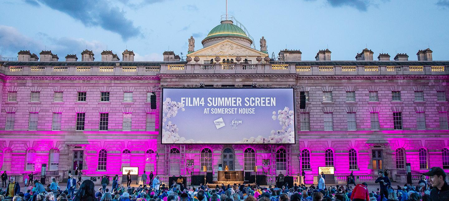 Outdoor cinema screen on the South Wing of Somerset House for Film4 Summer Screen