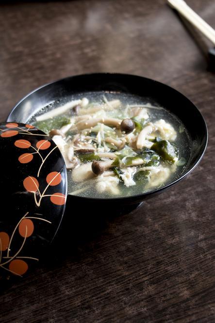 A bowl of mushroom wakame soup at Eat Tokyo