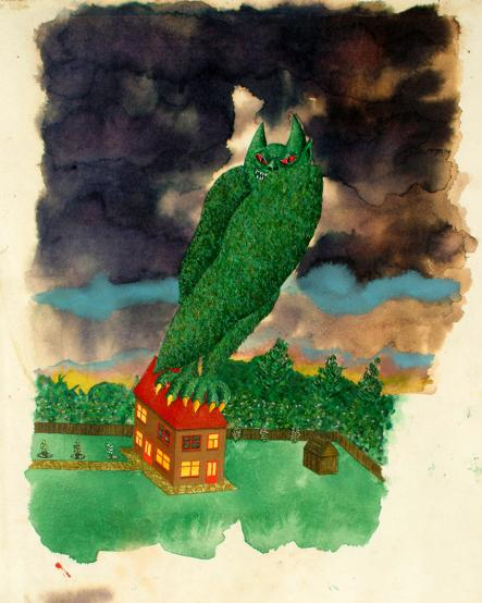 A drawing of a giant monster standing on house with a red roof