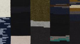 An artwork by Alek O. It is an embroidery piece, comprise of different coloured rectangles and squares, titled Edward Higgins White III..