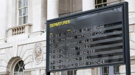 A photo o f the departures board at Somerset House