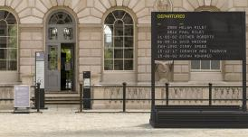 An artist's impression of the Departures board in the courtyard at Somerset House