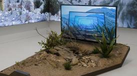 An installation view of artwork by Timur Si-Qin. It shows a flat screen TV with an infinity image of the scene around the TV displayed in blue. The TV stands at the head of a patch of sandy with plants growing out of it.