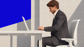 CGI image of a man at a desk from the film Homo Economicus by Alan Warburton