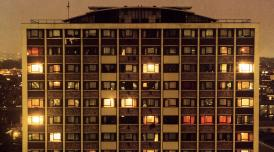 A London tower block at night photographed by Rut Blees Luxemburg
