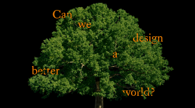 Artwork for London Design Biennale 2021. It shows a tree against a black backdrop with the words 'Can we design a better world?' placed in the branches of the tree.