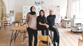 a photo of Rose Nordin, Sofia Niazi and Heiba Lamara (OOMK) in their studio at Somerset House