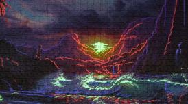 A photo of a kitsch jigsaw puzzle depicting waves, mountains and a setting sun in deep colours of blue, purple, pink.