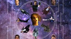 Various head shots of the actor Tom Cruise against the backdrop of stars in the cosmos