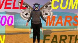 A digital collage by Plastique Fantastique. A human with four arms and wings stands in the middle.There is text that reads: Well Cum T00 Mars in Earth