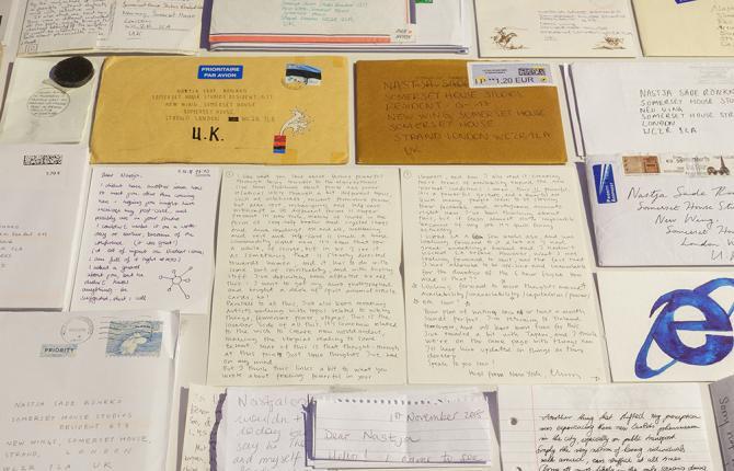 Letters as envelopes sent to artist Nastja Säde Rönkkö on display in the 24/7 exhibition at Somerset House