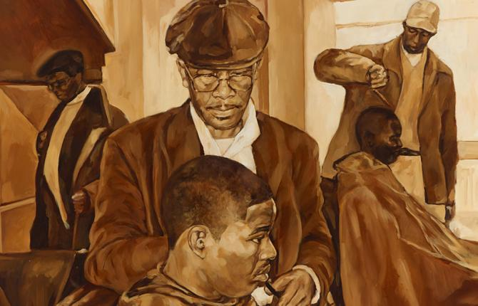 A painting by Barbara Walker showing Black men in a barber shop.