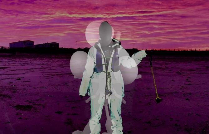 A digital rendering of a landscape with a man stood on a beach, with pink skies